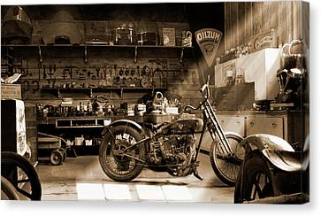 Sepia Tone Canvas Print - Old Motorcycle Shop by Mike McGlothlen
