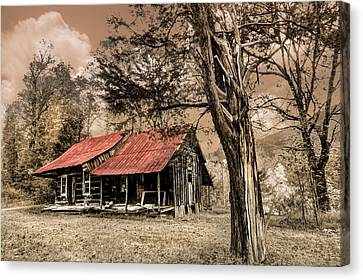 Old Mountain Cabin Canvas Print by Debra and Dave Vanderlaan