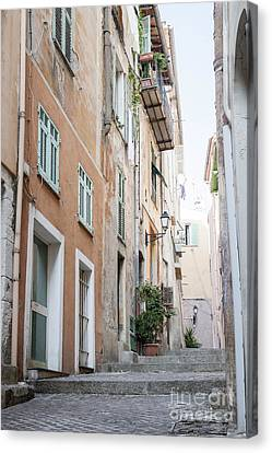 Old Narrow Street In Villefranche-sur-mer Canvas Print