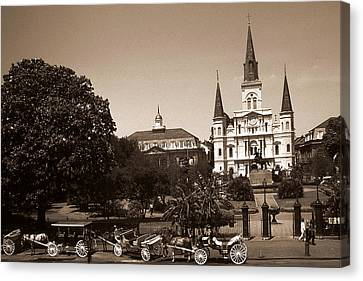 Old New Orleans Photo - Saint Louis Cathedral Canvas Print by Art America Gallery Peter Potter