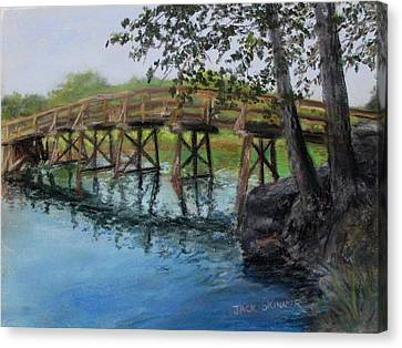 Canvas Print featuring the painting Old North Bridge In Pastel by Jack Skinner