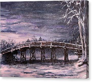 Old North Bridge In Winter Canvas Print by Jack Skinner