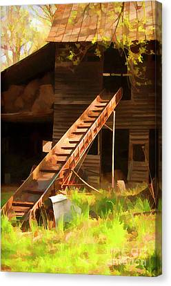 Old North Carolina Barn And Rusty Equipment   Canvas Print by Wilma Birdwell