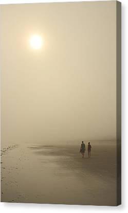 Old Orchard Beach Foggy Evening Canvas Print by John Burk