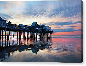 Old Orchard Beach Sunrise - Maine Canvas Print by Joann Vitali