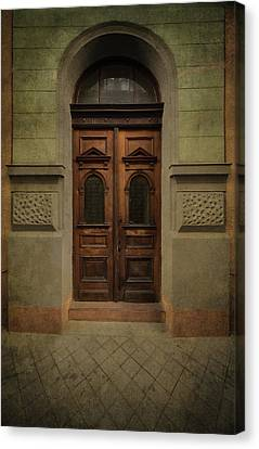 Architectur Canvas Print - Old Ornamented Wooden Gate In Brown Tones by Jaroslaw Blaminsky