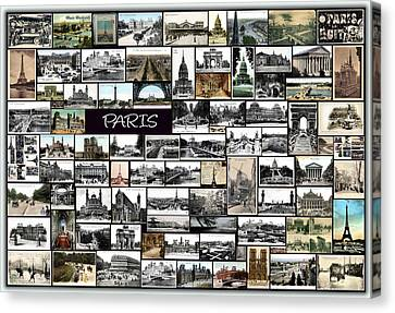 Old Paris Collage Canvas Print by Janos Kovac