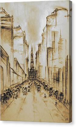 Old Philadelphia City Hall 1920 - Vintage Art Canvas Print by Art America Gallery Peter Potter