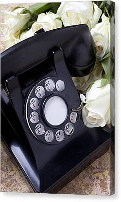 Old Phone And White Roses Canvas Print