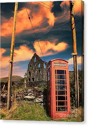 Chris Evans Canvas Print - Old Phone Box In Cwmystradllyn  by Chris Evans