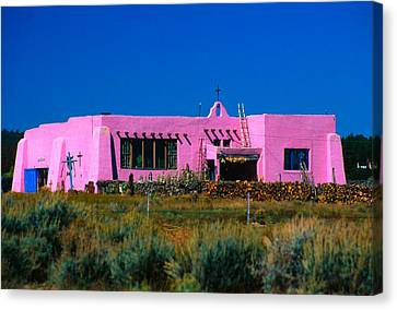Old Pink Schoolhouse Gallery Tres Piedras Nm Canvas Print by Troy Montemayor