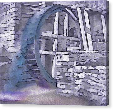 Old Pioneer Mill - Water Wheel Canvas Print by Steve Ohlsen