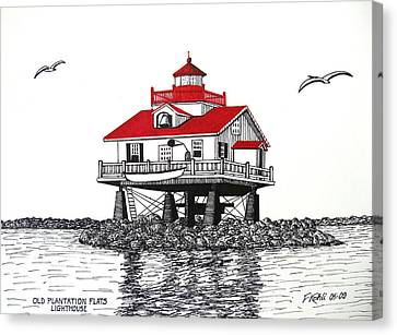 Old Plantation Flats Lighthouse Drawing Canvas Print by Frederic Kohli