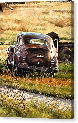 Rusted Cars Canvas Print - Old Plymouth by Tom Hedderich