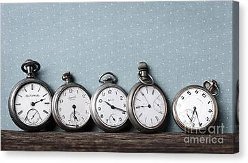 Old Pocket Watches On A Shelf Canvas Print by Edward Fielding