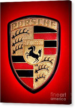 Old Porsche Badge Canvas Print by Olivier Le Queinec