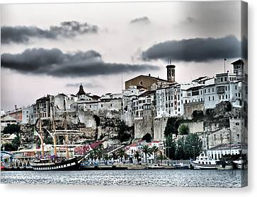 Old Port Mahon And Italian Sail Training Vessel Palinuro Hdr Canvas Print by Pedro Cardona