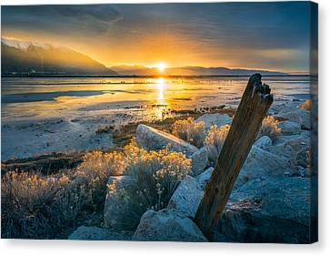 Great Salt Lake Canvas Print - Old Post At The Great Salt Lake by James Udall