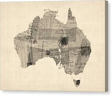 Old Postcard Map Of Australia Map Canvas Print by Michael Tompsett