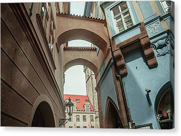 Canvas Print featuring the photograph Old Prague Architecture 1 by Jenny Rainbow