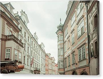 Canvas Print featuring the photograph Old Prague Buildings. Staromestska Square by Jenny Rainbow
