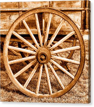 Old Prairie Schooner Wheel - Sepia Canvas Print