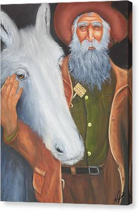 Old Prospector And Friend Canvas Print by Joni McPherson