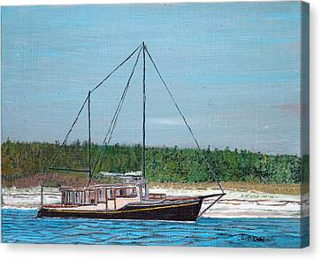 Old Pung In Maine Canvas Print by Laurence Dahlmer
