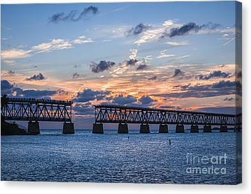 Old Rail Bridge At Florida Keys Canvas Print by Elena Elisseeva