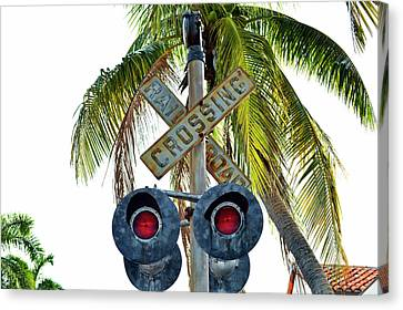 Old Railroad Crossing Sign Canvas Print