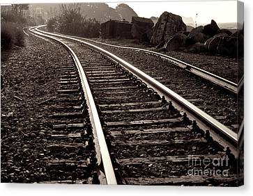 Canvas Print featuring the photograph Old Railroad Running Along The Sea Shore by Yurix Sardinelly