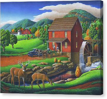 Old Red Appalachian Grist Mill Rural Landscape Oil Painting  Canvas Print