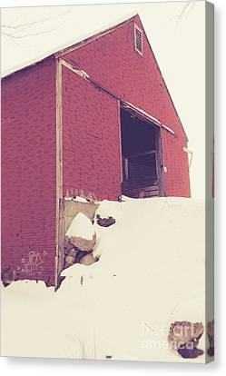 Old Red Barn In Winter Canvas Print by Edward Fielding