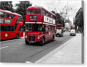 Old Red Bus Bw Canvas Print