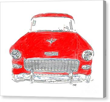 Old Red Car Drawing T-shirt Canvas Print by Edward Fielding