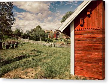 Canvas Print featuring the photograph Old Red Farm Set In A Rural Nature Landscape by Christian Lagereek