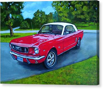 Old Red Mustang Car Canvas Print by Joyce Geleynse