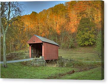 Old Red Or Walkersville Covered Bridge Canvas Print