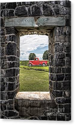 Old Red Pickup Truck Canvas Print by Edward Fielding