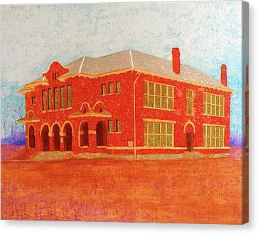 Old Red Somerville School Canvas Print by John Pinkerton