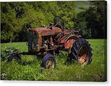 Old Red Tractor Canvas Print by Garry Gay