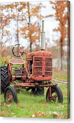 Old Red Tractor Quechee Vermont Fall Canvas Print by Edward Fielding