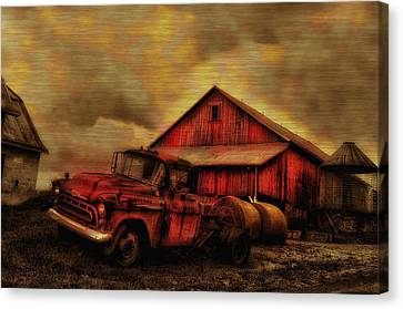 Old Red Truck And Barn Canvas Print by Bill Cannon