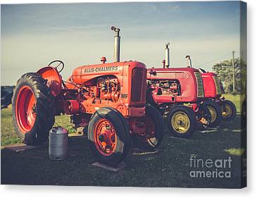 Old Red Vintage Tractors Prince Edward Island  Canvas Print by Edward Fielding