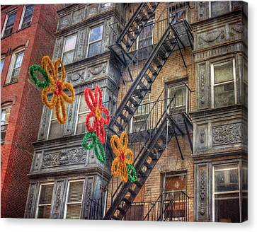 Fire Escape Canvas Print - Old Row Houses - North End - Boston by Joann Vitali