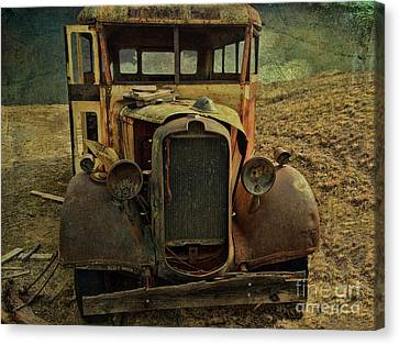 Old Rusted Wrecked Bus  Canvas Print by Liane Wright