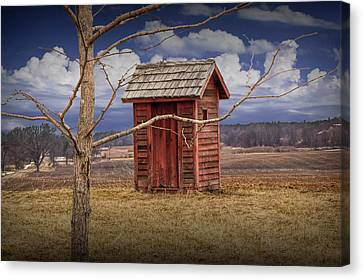 Old Rustic Wooden Outhouse In West Michigan Canvas Print