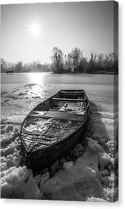 Canvas Print featuring the photograph Old Rusty Boat by Davorin Mance