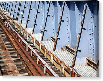 Canvas Print featuring the photograph Old Rusty Railway Bridge by Yali Shi