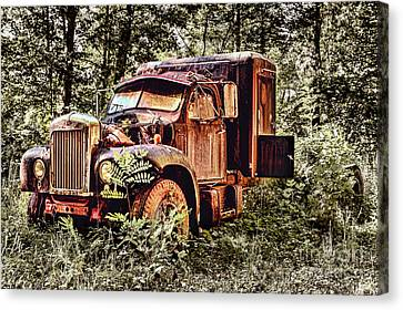 Old Rusty Truck In The Woods - Jocassee Canvas Print by Dan Carmichael